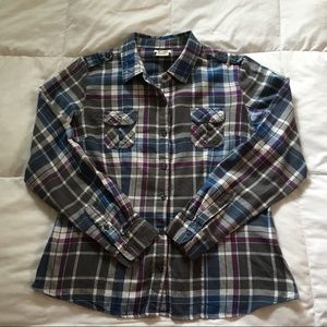 At Last Plaid Gray Blue Button Down Shirt XL